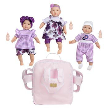 FAO Schwarz Baby Doll Triplets with Backpack Set