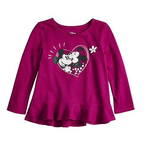 bcab7f23d Disney's Minnie Mouse & Mickey Mouse Toddler Girl Heart Graphic ...