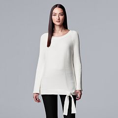 Women's Simply Vera Vera Wang Side-Tie Ribbed Crewneck Sweater