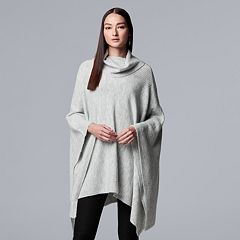 Women's Simply Vera Vera Wang Draped Turtleneck Poncho Sweater