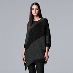 Women's Simply Vera Wang Asymmetrical-Hem Cable Knit Tunic Sweater