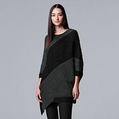 Women's Simply Vera Wang Asymmetrical-Hem Cable Knit Tunic Sweater