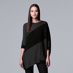 Women's Simply Vera Vera Wang Cable-Knit Asymmetrical Hem Tunic Sweater