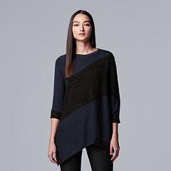 Women's Simply Vera Vera Wang Cable-Knit Asymmetrical Hem Tunic Sweater