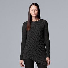 Women's Simply Vera Vera Wang Cable-Knit Asymmetrical Hem Sweater