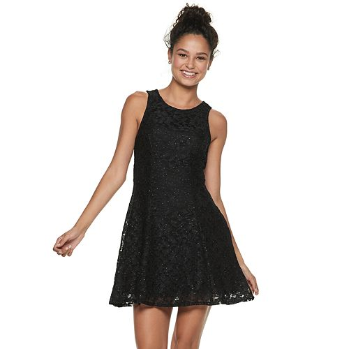 2fa0da452d16 Juniors' Speechless Glitter Lace Swing Dress
