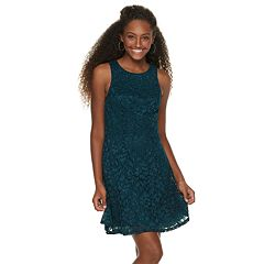 Juniors' Speechless Glitter Lace Swing Dress