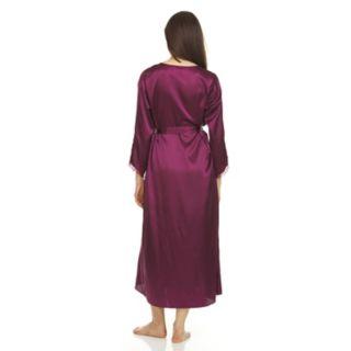Women's Flora by Flora Nikrooz Lace-Trim Charmeuse Satin Long Robe