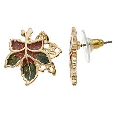 Gold Tone Nickel Free Leaf Stud Earrings