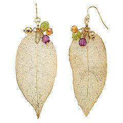 Beaded Nickel Free Leaf Drop Earrings