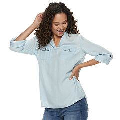 Juniors' SO® Chambray Popover Shirt