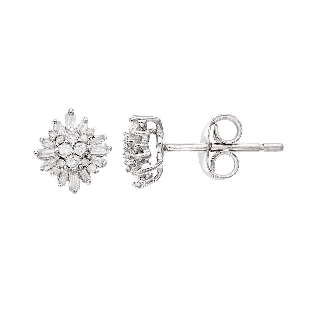 Simply Vera Vera Wang Sterling Silver 1/4 Carat T.W. Diamond Flower Stud Earrings