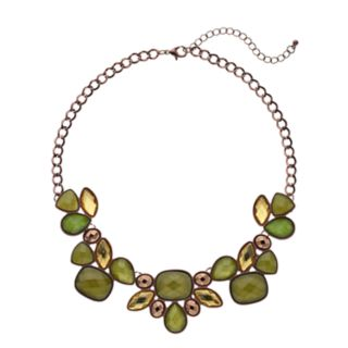 Green Faceted Stone Bib Necklace