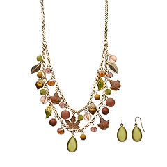 Leaf & Acorn Charm Multistrand Necklace & Earring Set