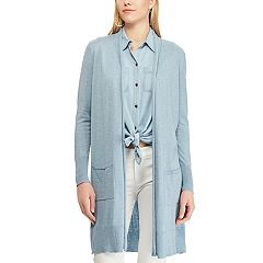 Petite Chaps Open Front Long Cardigan