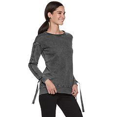 Women's Rock & Republic Ruched-Sleeve French Terry Sweatshirt