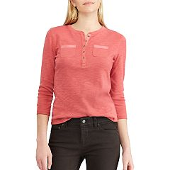 Petite Chaps Cotton Henley Shirt