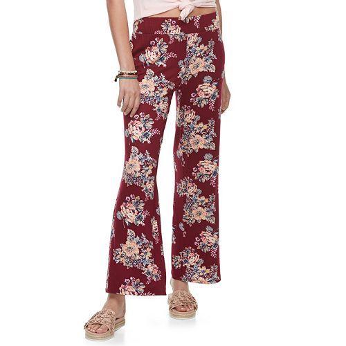 Juniors' Pink Rose Flared Soft Pants