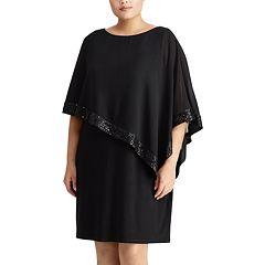 Plus Size Chaps Georgette Overlay Sheath Dress