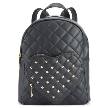 OMG Accessories Studded Heart Pocket Quilted Mini Backpack