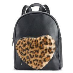 OMG Accessories Faux-Fur Leopard Heart Pocket Mini Backpack