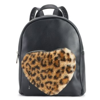 OMG Accessories Faux-Fur Leopard Heart Pocket Mini Backpack