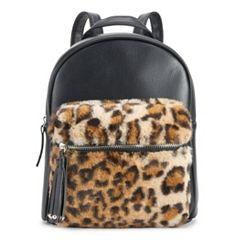 OMG Accessories Faux-Fur Leopard Pocket Mini Backpack