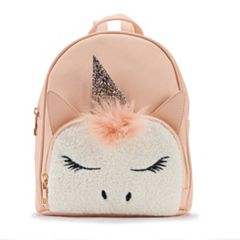 OMG Accessories Faux-Fur Unicorn Mini Backpack