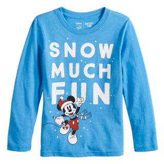 """Disney's Mickey Mouse Boys 4-12 """"Snow Much Fun"""" Softest Graphic Tee by Jumping Beans®"""