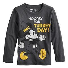 Disney's Mickey Mouse Boys 4-12 Thanksgiving 'Hooray for Turkey Day' Pilgrim Softest Graphic Tee by Jumping Beans®
