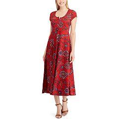 Petite Chaps Print Midi Dress