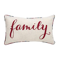 Linen 'Family' Plaid Throw Pillow