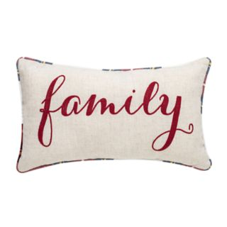 "Linen ""Family"" Plaid Throw Pillow"