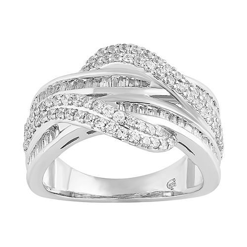 Sterling Silver 1 Carat T.W. Crisscross Ring