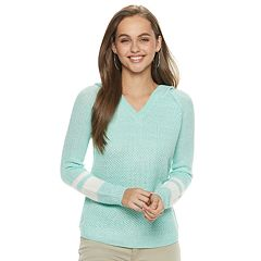 Juniors' SO® V-Neck Sweater Hoodie