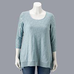 Plus Size Simply Vera Vera Wang Jacquard Handkerchief-Hem Top