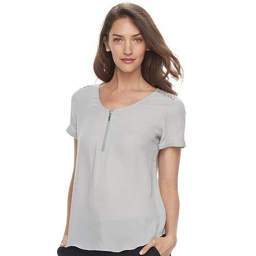 c45bfb60852 Women s Apt. 9® Lace Accent Zipper Top