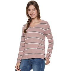 Juniors' Pink Republic Lace-Up Tee