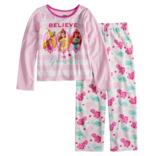 Disney Princess Rapunzel, Belle & Ariel Girls 4-10 Fleece Top & Bottoms Pajama Set