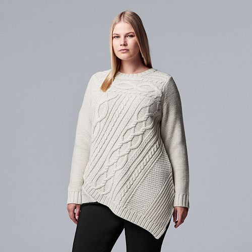 31dfb38c56573d Plus Size Simply Vera Vera Wang Cable-Knit Asymmetrical Hem Sweater