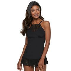 Women's Apt. 9® Crochet High-Neck One-Piece Swimdress
