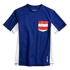 Boys 8-20 ZeroXposur Colorblock Americana Rash Guard Pocket Swim Top