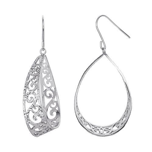 Silver Classics Sterling Silver Filigree Teardrop Earrings