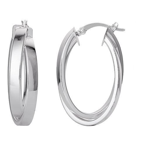 Silver Classics Sterling Silver Oval Hoop Earrings