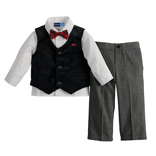 Toddler Boy Great Guy Velvet Vest Shirt Pants Bowtie Set