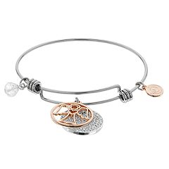 love this life 'May You Always Have Angels By Your Side' Two Tone Bangle Bracelet