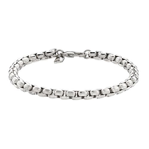 Men's Stainless Steel Faceted Round Box Chain Bracelet
