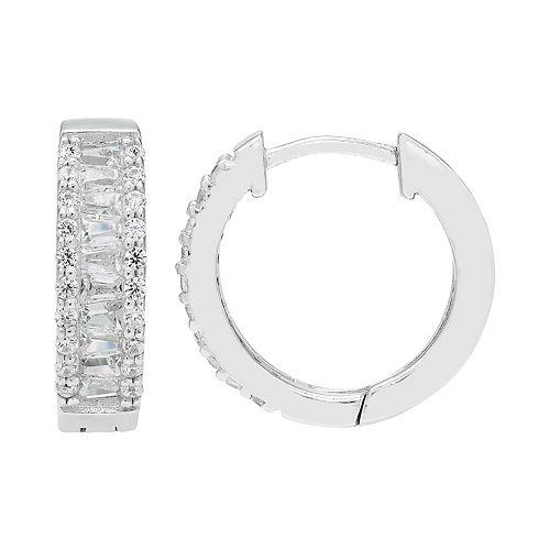 Diamond Splendor Sterling Silver Cubic Zirconia & Diamond Huggie Hoop Earrings