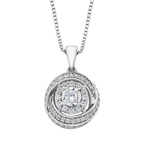 Diamond Splendor Sterling Silver Cubic Zirconia & Diamond Round Pendant