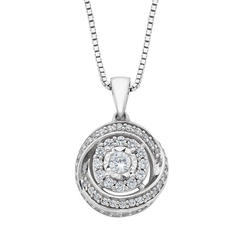 """Diamond Splendor Sterling Silver Cubic Zirconia & Diamond Round Pendant. Women's. Size: 18"""". White"""